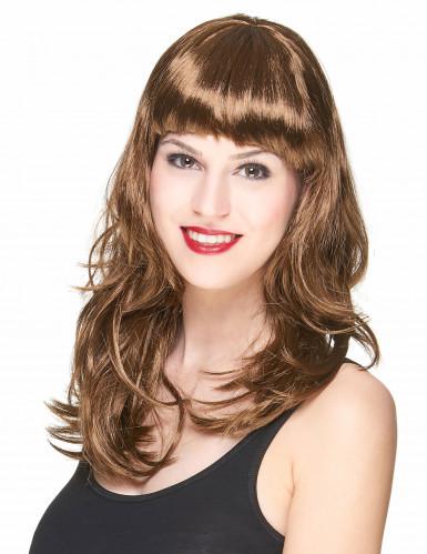 Parrucca con capelli lunghi castano scuro per donna