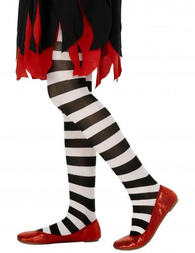 Collant per bambini a righe bianche e nere Halloween