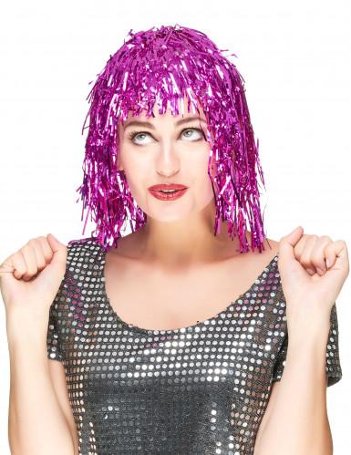 Parrucca per adulti fucsia metallizzato