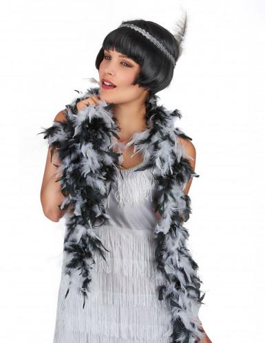 Elegante Boa nero e bianco-1
