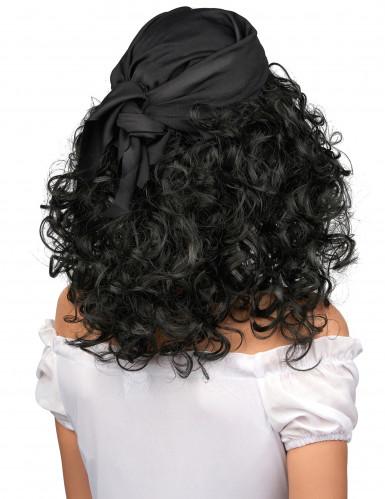 Parrucca nera riccia da donna pirata-1