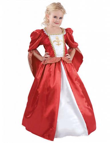 Costume da principessa medievale rosso e bianco bambina