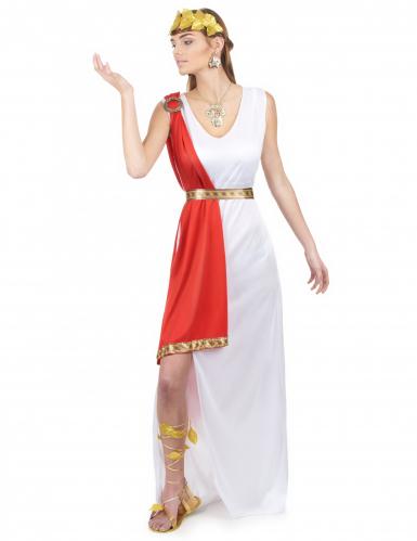 Costume dea romana bianco e rosso per donna
