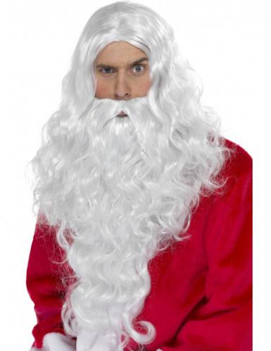 Set di parrucca e barba bianca da Babbo Natale per adulti