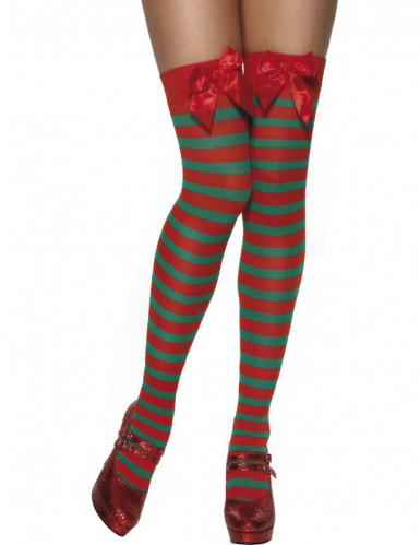 Calze a righe elfo di Natale per donna