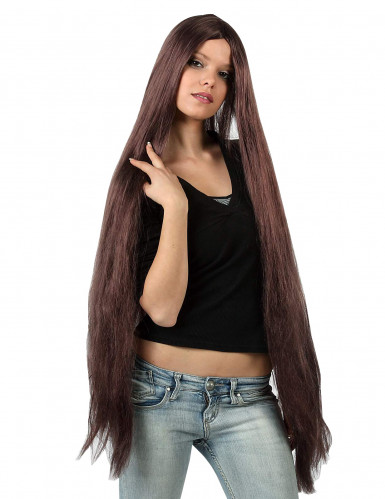 Parrucca molto lunga castana