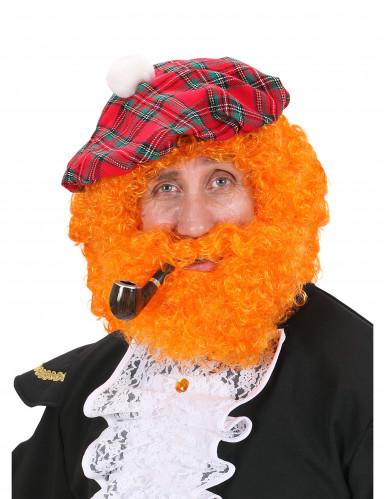 Parrucca tipo scozzese arancione per adulto