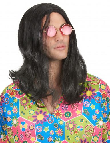 Parrucca nera hippy adulto