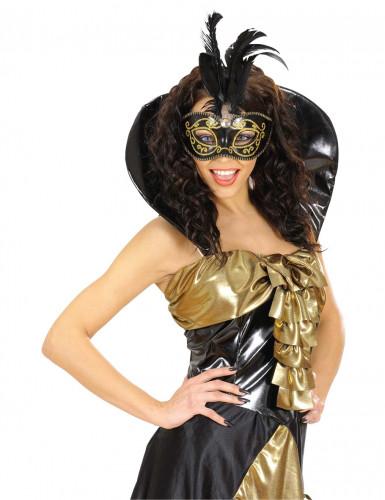 Maschera nera con dettagli dorati e piume-1