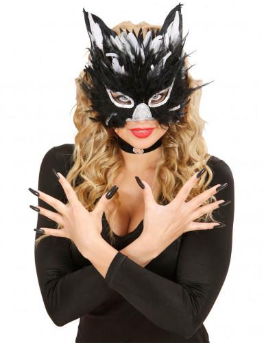 Maschera piumata da gatta per adulti-1