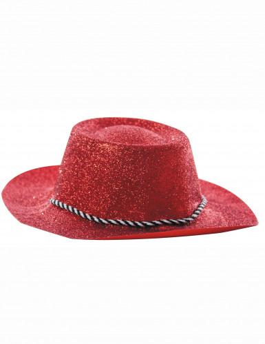 Cappello da cowgirl con paillettes rosse