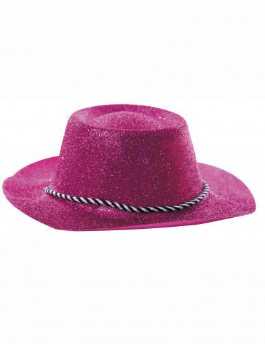 Cappello da cowgirl con lucenti paillettes rosa