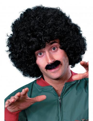 Parrucca con baffi neri uomo