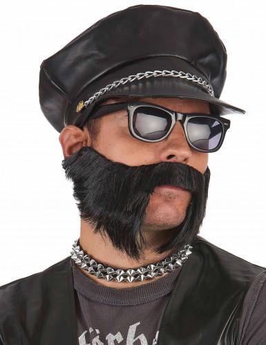 Cappellino nero da motociclista-1