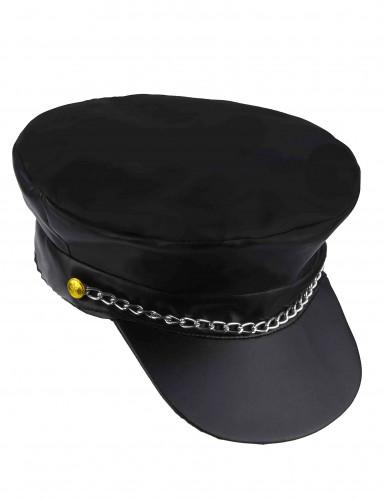 Cappellino nero da motociclista