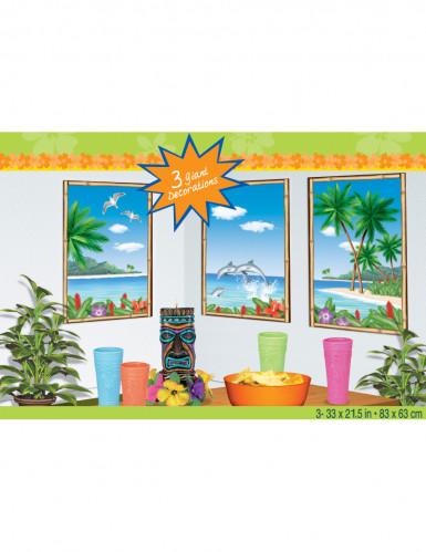 Lotto di 3 decorazioni murali isola paradisiaca