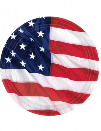 Confezione di 8 piatti con bandiera USA