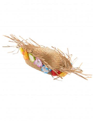 Cappello di paglia Hawaii con fiori colorati