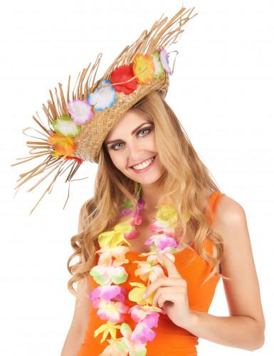Cappello di paglia Hawaii con fiori colorati-1