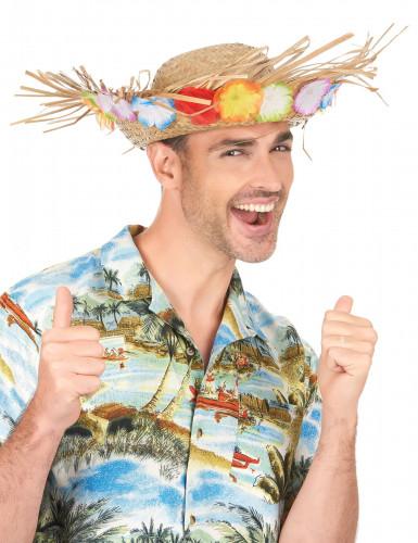 Cappello di paglia Hawaii con fiori colorati-2