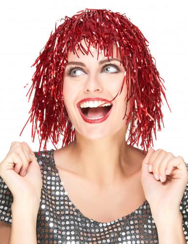 Parrucca metallica colore rosso per adulto