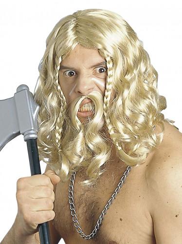 Parrucca con baffi da vichingo