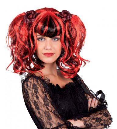 Parrucca stile gotico rossa e nera per donna