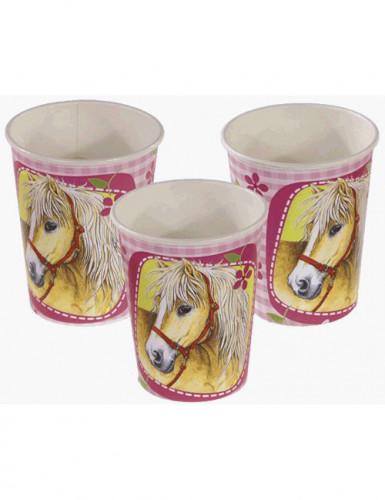 Confezione 8 bicchieri di carta con cavalli