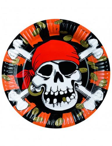 8 piatti di carta con teschio dei pirati