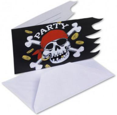 6 Biglietti d'invito pirata