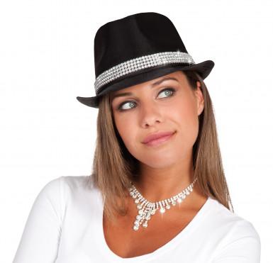 Cappello nero con fascia di strass