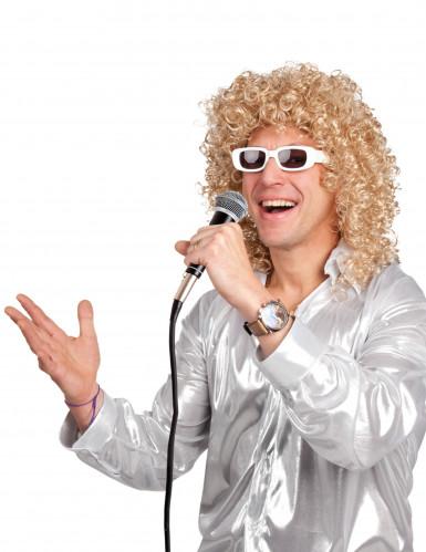 Parrucca bionda con occhiali bianchi per uomo