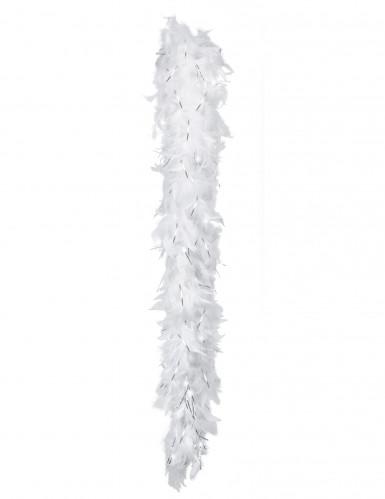 Boa di piume bianco e argento