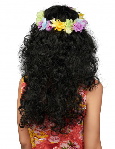 Parrucca nera con ghirlanda floreale hawaiana-1