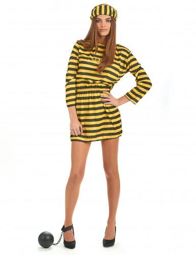 Costume da donna carcerata giallo e nero