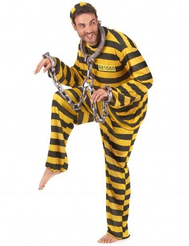 Costume adulto giallo e nero da carcerato-1