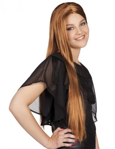 Parrucca marrone lunga per donna