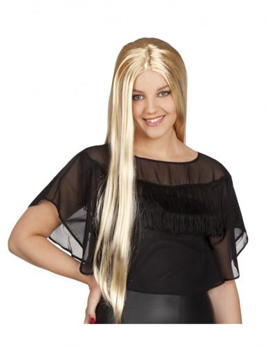 Parrucca con capelli lunghi biondi da donna