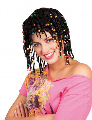 Parrucca nera con treccine e perline donna