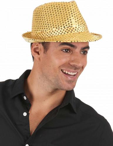 Cappello dorato con paillettes da adulto-1