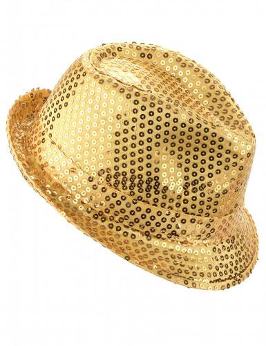 Cappello dorato con paillettes da adulto