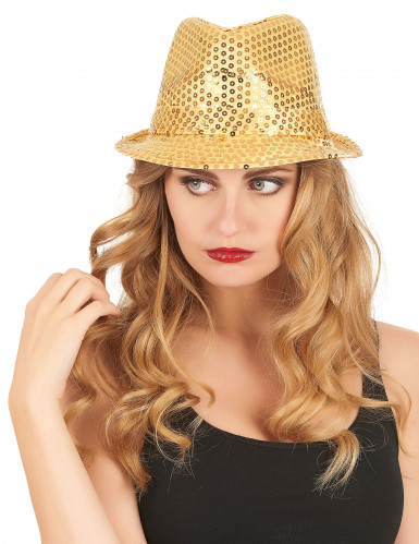 Cappello dorato con paillettes da adulto-2
