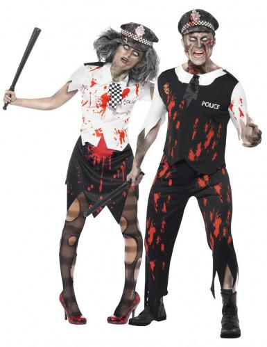 Travestimento coppia Polizia Zombie Halloween