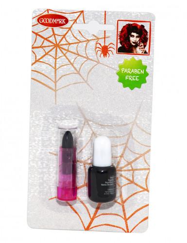 Smalto e rossetto di colore nero per adulto per Halloween-1