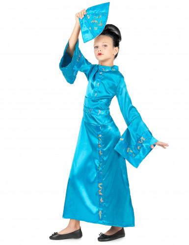 Costume da geisha turchese per bambina-1