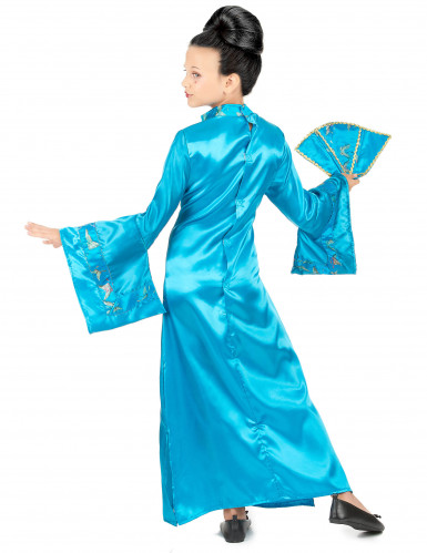 Costume da geisha turchese per bambina-2