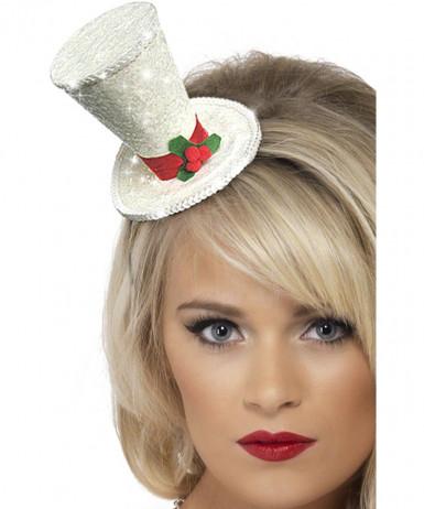 Mini cappello adulto di colore bianco per Natale