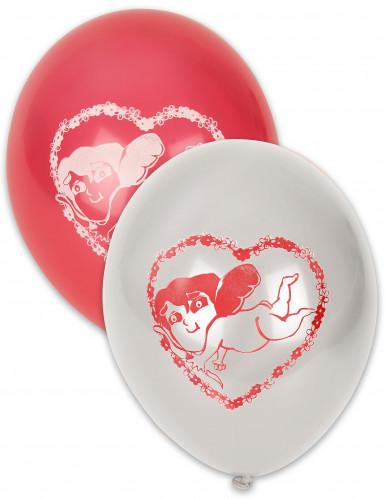 10 palloncini bianchi e rossi con Cupido