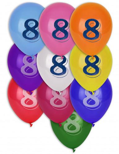 8 Palloncini colori misti numero 8