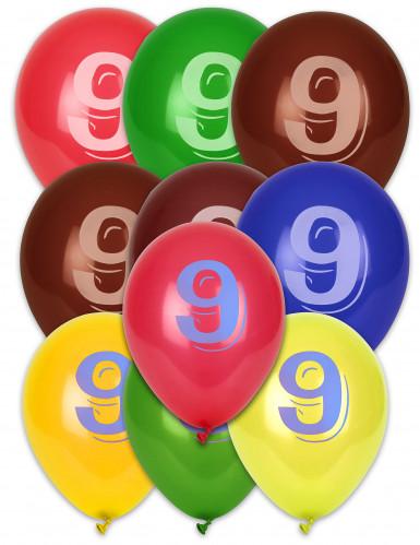 10 palloncini colorati numero 9